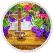 Round Beach Towel featuring the photograph Easter Flowers by Nick Zelinsky