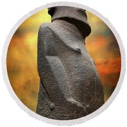 Round Beach Towel featuring the photograph Easter Island Moai by Adrian Evans