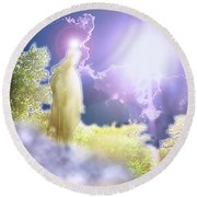 Round Beach Towel featuring the photograph Easter Joy by Marie Hicks