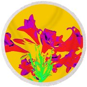 Easter Lilies As Pop Art Round Beach Towel