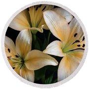 Easter Lilies  Round Beach Towel by Deborah Klubertanz