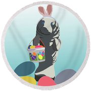 Round Beach Towel featuring the digital art Easter Manatee by Megan Dirsa-DuBois