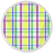 Round Beach Towel featuring the digital art Easter Pastel Plaid Striped Pattern by Shelley Neff