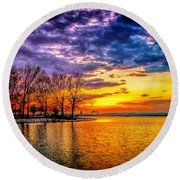 Round Beach Towel featuring the photograph Easter Sunset At Riverview Beach Park by Nick Zelinsky