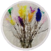 Easter Tree- Abstract Art By Linda Woods Round Beach Towel