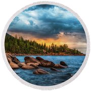Eastern Glow At Sunset Round Beach Towel