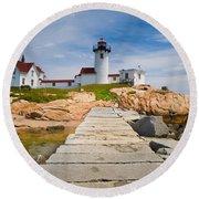 Eastern Point Lighthouse Round Beach Towel
