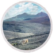 Eastern Sierra Nevada Autumn Landscape Round Beach Towel by Wernher Krutein