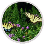 Round Beach Towel featuring the photograph Eastern Tiger Swallowtail Butterfly - Female And Male  by Kerri Farley