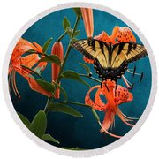 Eastern Tiger Swallowtail Butterfly On Orange Tiger Lily Round Beach Towel