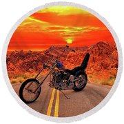 Easy Rider Chopper Round Beach Towel by Louis Ferreira