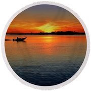 Easy Sunday Sunset Round Beach Towel