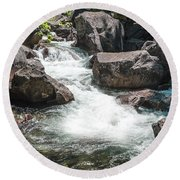 Round Beach Towel featuring the photograph Easy Waters- by JD Mims