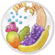 Eat More Fruit Round Beach Towel
