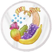 Eat More Fruit Round Beach Towel by Whitney Morton
