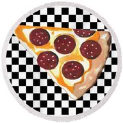 Round Beach Towel featuring the mixed media Eat Pizza by Kathleen Sartoris