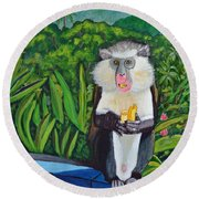 Eating A Banana Round Beach Towel by Laura Forde