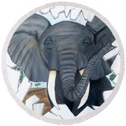 Eavesdropping Elephant Round Beach Towel