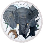 Round Beach Towel featuring the painting Eavesdropping Elephant by Teresa Wing