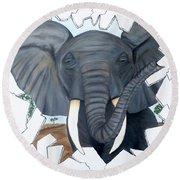 Eavesdropping Elephant Round Beach Towel