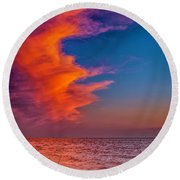 Round Beach Towel featuring the photograph Evening Fishing On The Beach by Nick Zelinsky
