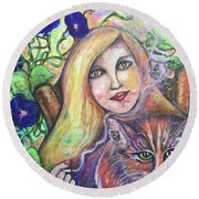 Round Beach Towel featuring the painting Eazybreezylazy Sunday by Rae Chichilnitsky