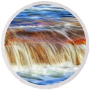 Round Beach Towel featuring the photograph Ebb And Flow, Noble Falls by Dave Catley