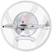 Ec-121d Super Constellation Round Beach Towel by Arthur Eggers
