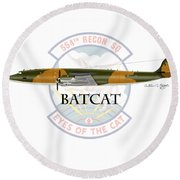 Ec-121r Batcat Round Beach Towel by Arthur Eggers