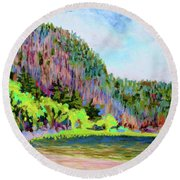 Echo Lake Beach, Acadia Round Beach Towel