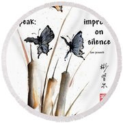 Echo Of Silence With Zen Proverb Round Beach Towel