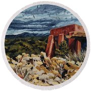 Round Beach Towel featuring the painting Echoes Of Tularosa, Museum Hill, Santa Fe, Nm by Erin Fickert-Rowland