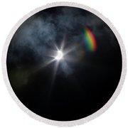 Solar Eclipse 2017 And Rainbow Round Beach Towel