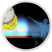Round Beach Towel featuring the digital art Eclipse 2017 by John Haldane