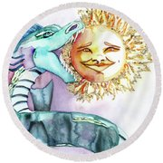 Eclipse Dragon Sun Eater Round Beach Towel
