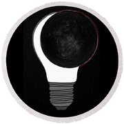 Round Beach Towel featuring the drawing Eclipse by John Haldane