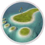 Eco Footprint Shaped Island Round Beach Towel