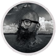 Eco Hipster Black And White Round Beach Towel