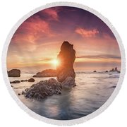 Round Beach Towel featuring the photograph Ecola State Park Beach Sunset Pano by William Lee