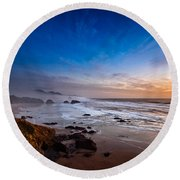 Ecola State Park At Sunset Round Beach Towel