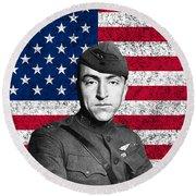Eddie Rickenbacker And The American Flag Round Beach Towel