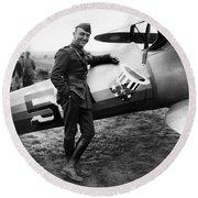 Eddie Rickenbacker - Ww1 American Air Ace Round Beach Towel