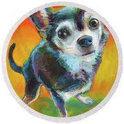 Round Beach Towel featuring the painting Eddie by Robert Phelps