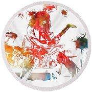 Eddie Van Halen Paint Splatter Round Beach Towel by Dan Sproul