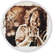 Eddie Vedder Round Beach Towel by Lance Gebhardt