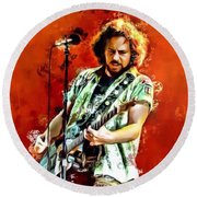 Eddie Vedder Of Pearl Jam Round Beach Towel