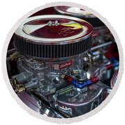 Edelbrock And Chevy Round Beach Towel by Mike Reid