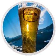 Edelweiss Beer In Kirchberg Austria Round Beach Towel