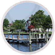 Edenton Waterfront Round Beach Towel by Gordon Mooneyhan