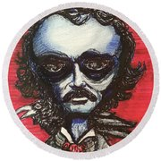 Round Beach Towel featuring the painting Edgar Alien Poe by Similar Alien